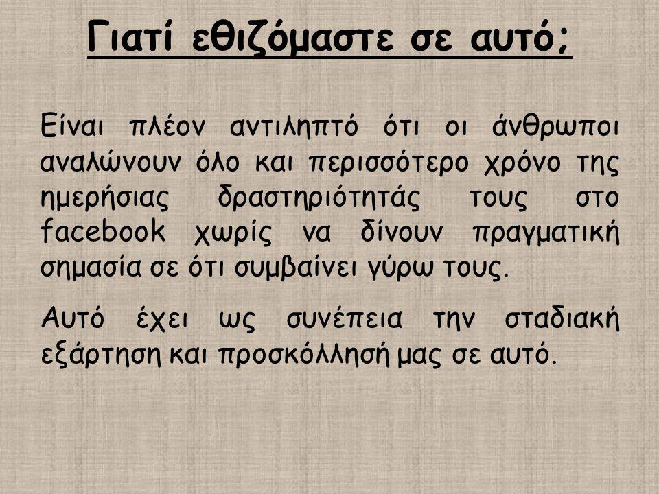Γιατί εθιζόμαστε σε αυτό; Είναι πλέον αντιληπτό ότι οι άνθρωποι αναλώνουν όλο και περισσότερο χρόνο της ημερήσιας δραστηριότητάς τους στο facebook χωρ