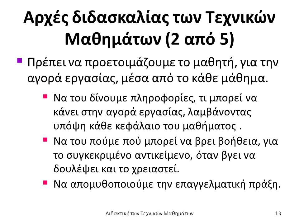Αρχές διδασκαλίας των Τεχνικών Μαθημάτων (2 από 5)  Πρέπει να προετοιμάζουμε το μαθητή, για την αγορά εργασίας, μέσα από το κάθε μάθημα.