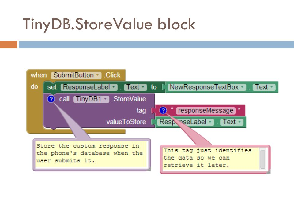 TinyDB.StoreValue block