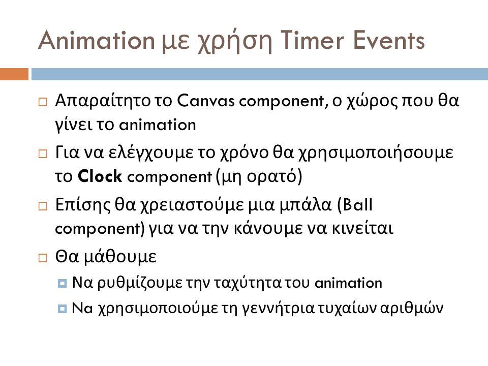 Animation με χρήση Timer Events  Απαραίτητο το Canvas component, ο χώρος που θα γίνει το animation  Για να ελέγχουμε το χρόνο θα χρησιμοποιήσουμε το Clock component ( μη ορατό )  Επίσης θα χρειαστούμε μια μπάλα (Ball component) για να την κάνουμε να κινείται  Θα μάθουμε  Να ρυθμίζουμε την ταχύτητα του animation  Na χρησιμοποιούμε τη γεννήτρια τυχαίων αριθμών