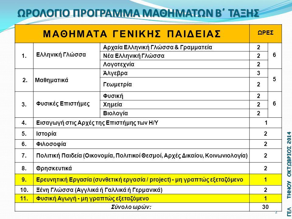 ΜΑΘΗΜΑΤΑ ΓΕΝΙΚΗΣ ΠΑΙΔΕΙΑΣ ΩΡΕΣ Αρχαία Ελληνική Γλώσσα & Γραμματεία2 6 1.