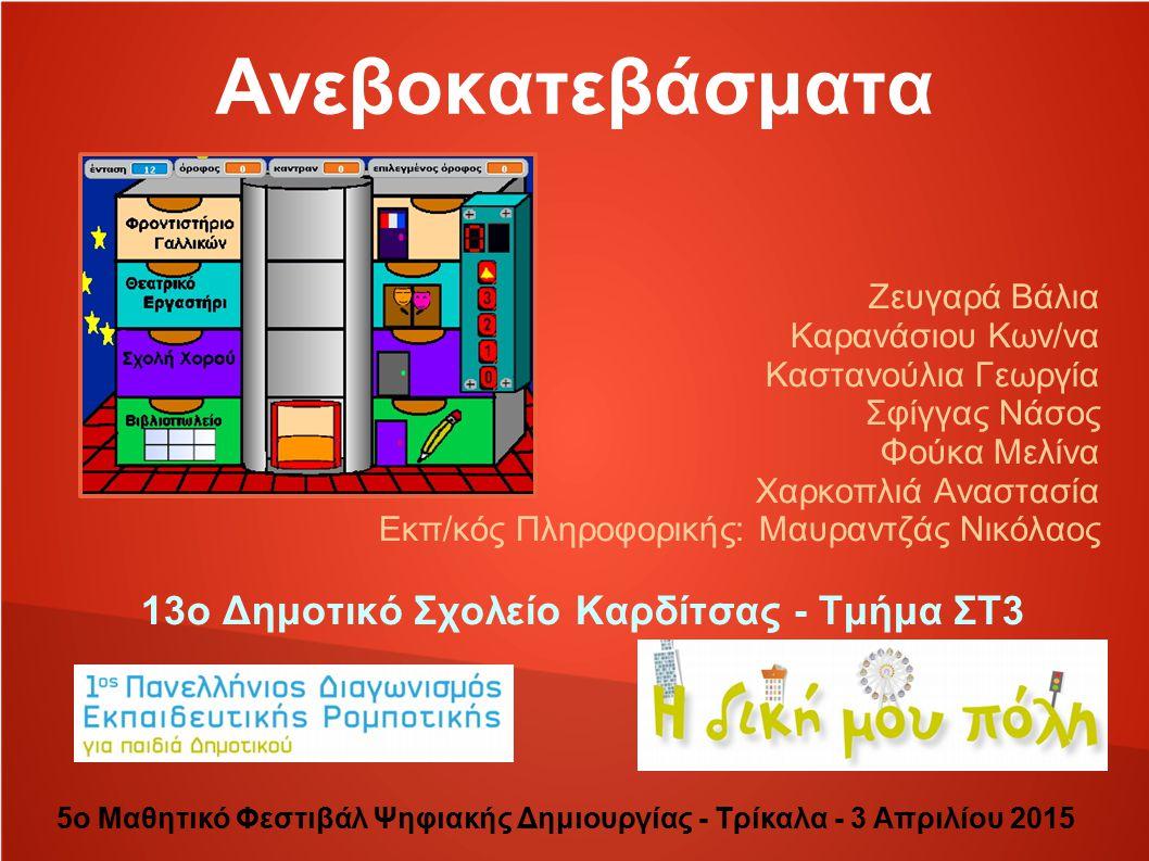 Η πορεία 1ος Πανελλήνιος Διαγωνισμός Εκπαιδευτικής Ρομποτικής Η πόλη μου Επιλογή θέματος Χωρισμός σε ομάδες Ομάδα Σχεδιασμού Ομάδα Κατασκευής Ομάδα Προγραμματισμού Τελική Κατασκευή Οι εντυπώσεις από τον διαγωνισμό Συμπεράσματα 5ο Μαθητικό Φεστιβάλ Ψηφιακής Δημιουργίας - Τρίκαλα - 3 Απριλίου 2015