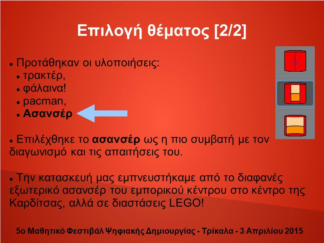 Συμπεράσματα 5ο Μαθητικό Φεστιβάλ Ψηφιακής Δημιουργίας - Τρίκαλα - 3 Απριλίου 2015 Μάθαμε Διασκεδάσαμε Συν αγωνιστήκαμε Είδαμε τις προσπάθειες πολλών άλλων σχολείων από τη Θεσσαλία και στον τελικό, από τις καλύτερες από όλη την Ελλάδα Εμπνευστήκαμε Πήραμε πολλές ιδέες Είδαμε τις ΤΠΕ εντελώς διαφορετικά Πήραμε την 5η θέση Πανελλαδικά και βραβείο για την καλύτερη κατασκευή