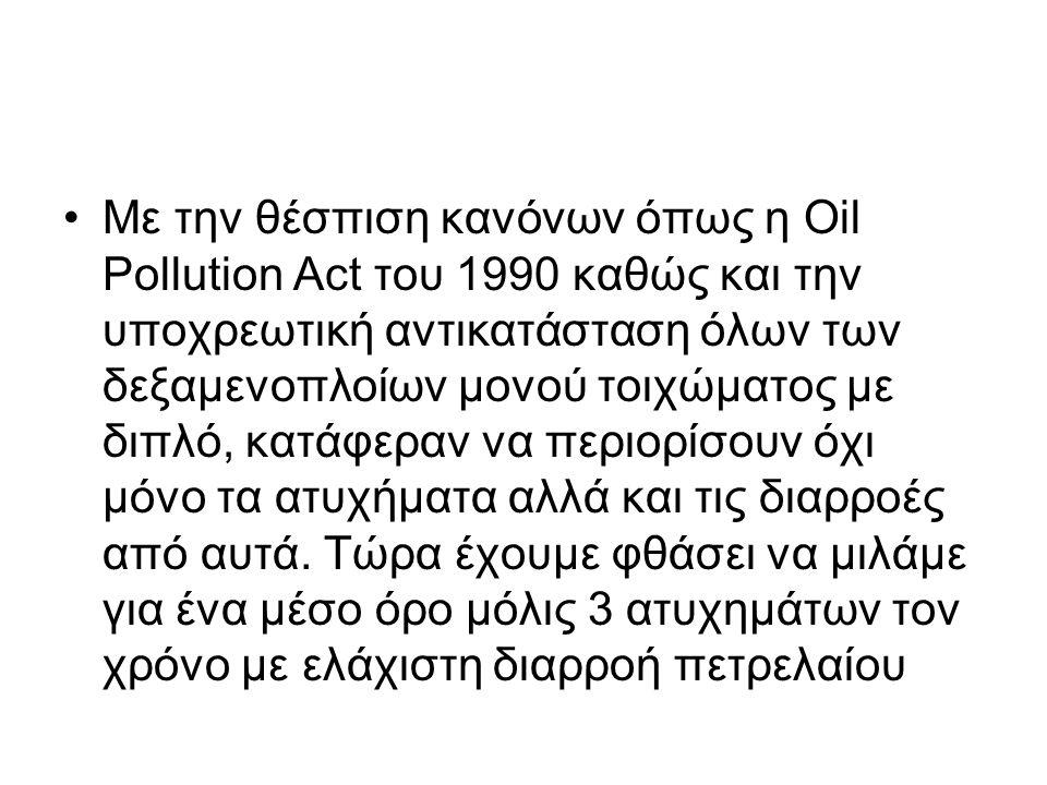 Με την θέσπιση κανόνων όπως η Oil Pollution Act του 1990 καθώς και την υποχρεωτική αντικατάσταση όλων των δεξαμενοπλοίων μονού τοιχώματος με διπλό, κατάφεραν να περιορίσουν όχι μόνο τα ατυχήματα αλλά και τις διαρροές από αυτά.