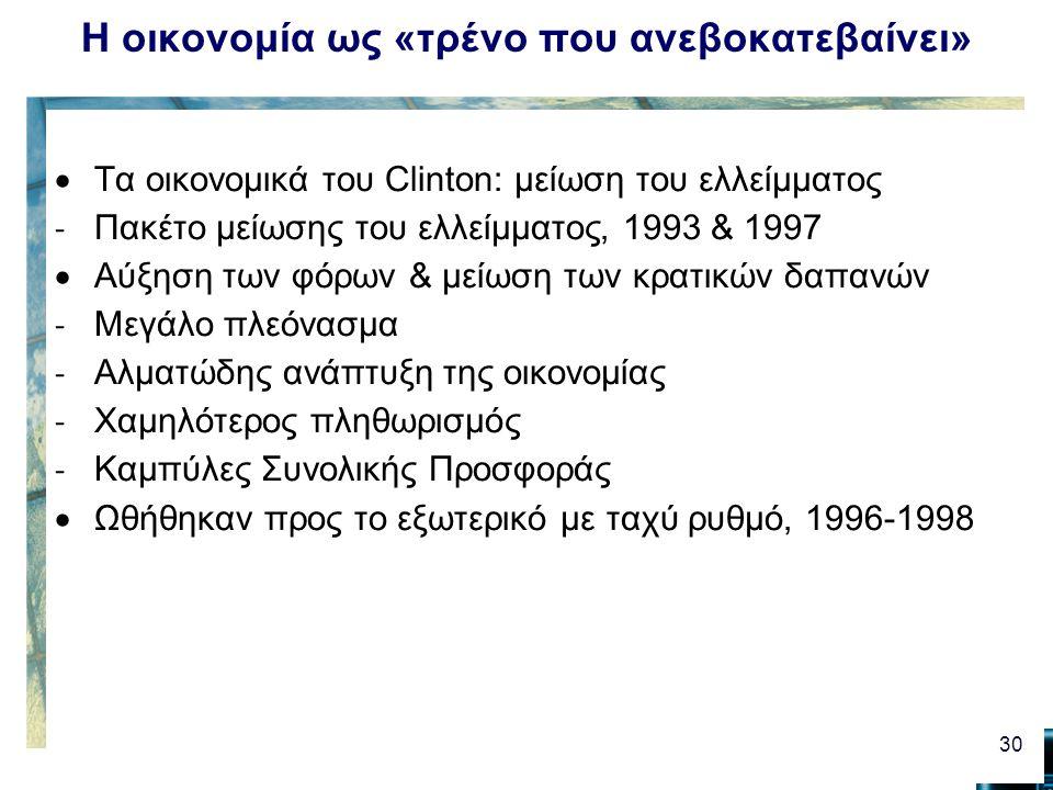Η οικονομία ως «τρένο που ανεβοκατεβαίνει»  Τα οικονομικά του Clinton: μείωση του ελλείμματος - Πακέτο μείωσης του ελλείμματος, 1993 & 1997  Αύξηση