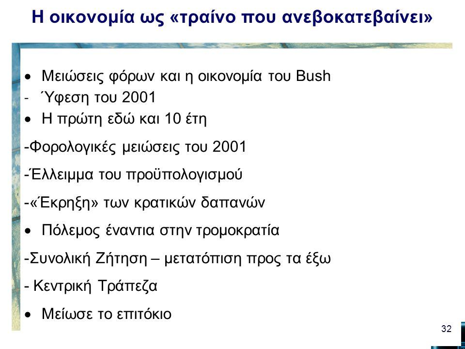 Η οικονομία ως «τραίνο που ανεβοκατεβαίνει»  Μειώσεις φόρων και η οικονομία του Bush - Ύφεση του 2001  Η πρώτη εδώ και 10 έτη -Φορολογικές μειώσεις