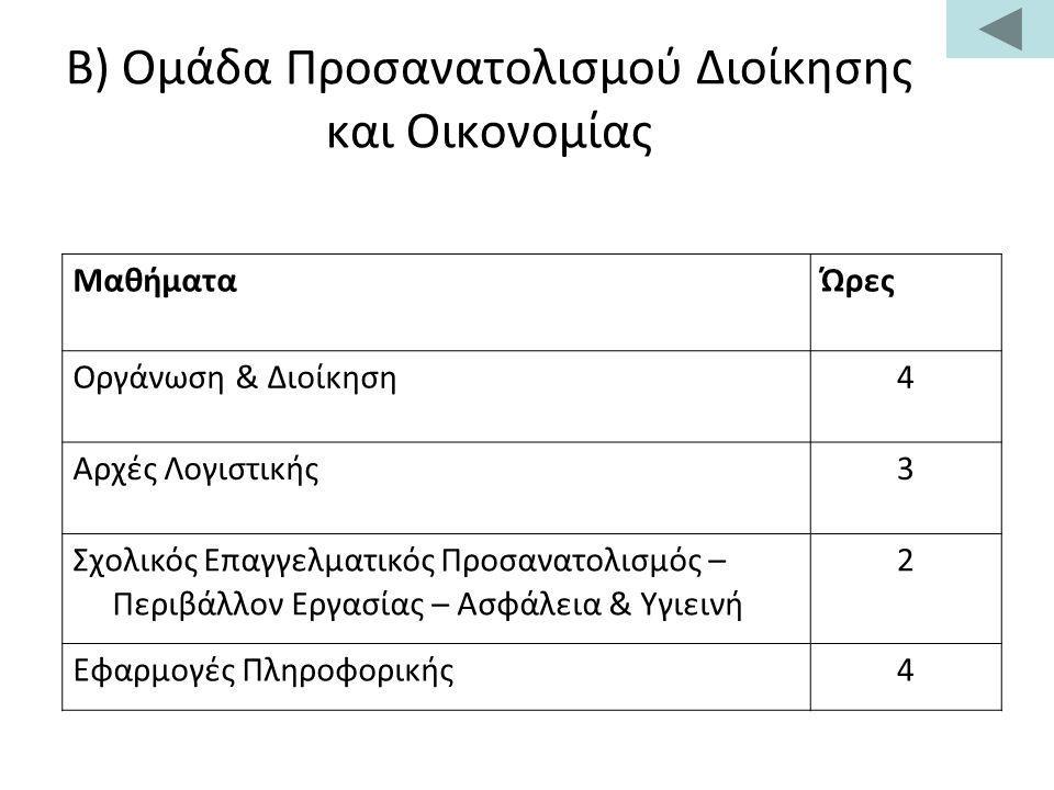 Β) Ομάδα Προσανατολισμού Διοίκησης και Οικονομίας Μαθήματα Ώρες Οργάνωση & Διοίκηση4 Αρχές Λογιστικής3 Σχολικός Επαγγελματικός Προσανατολισμός – Περιβάλλον Εργασίας – Ασφάλεια & Υγιεινή 2 Εφαρμογές Πληροφορικής4