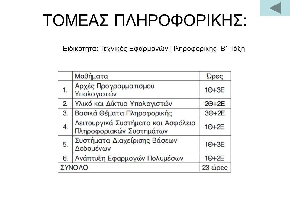 ΤΟΜΕΑΣ ΠΛΗΡΟΦΟΡΙΚΗΣ: Ειδικότητα: Τεχνικός Εφαρμογών Πληροφορικής Β΄ Τάξη