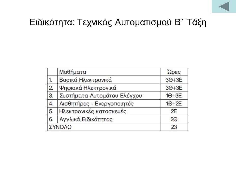 Ειδικότητα: Τεχνικός Αυτοματισμού Β΄ Τάξη