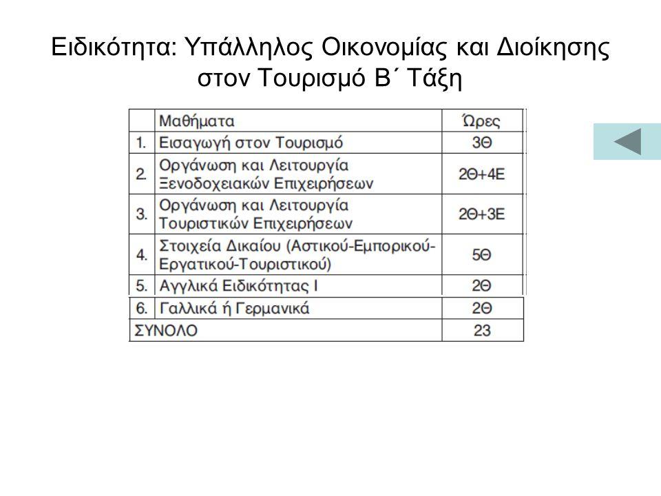 Ειδικότητα: Υπάλληλος Οικονομίας και Διοίκησης στον Τουρισμό Β΄ Τάξη