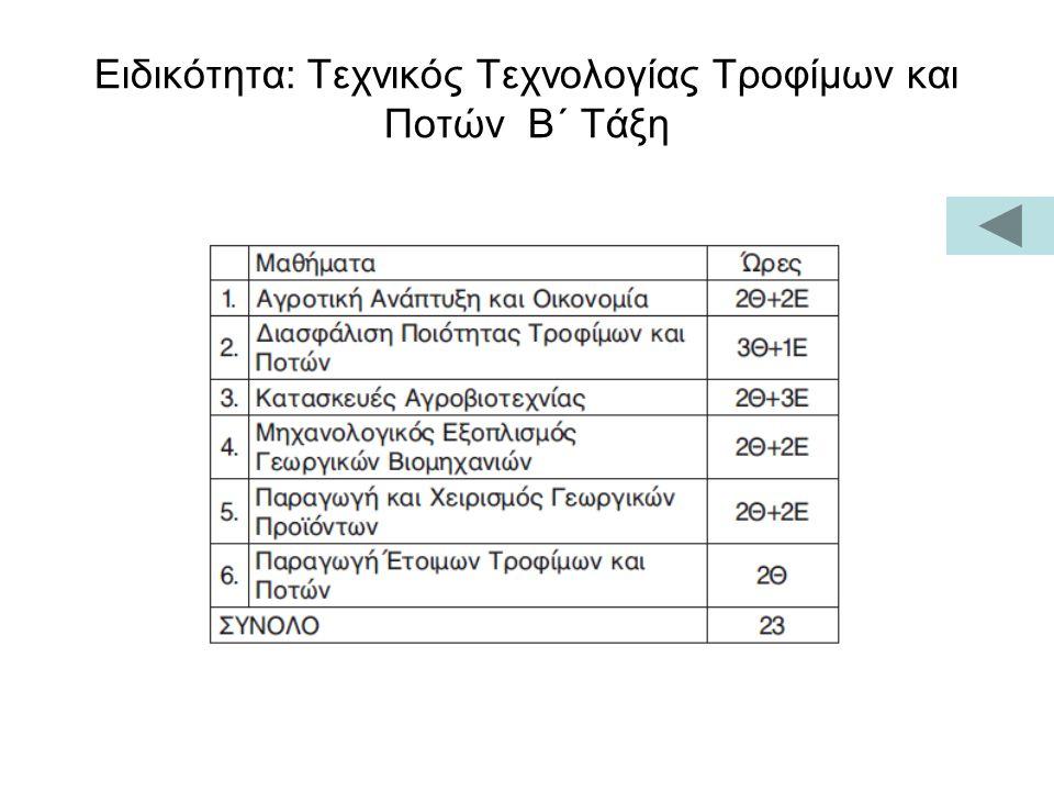 Ειδικότητα: Τεχνικός Τεχνολογίας Τροφίμων και Ποτών Β΄ Τάξη