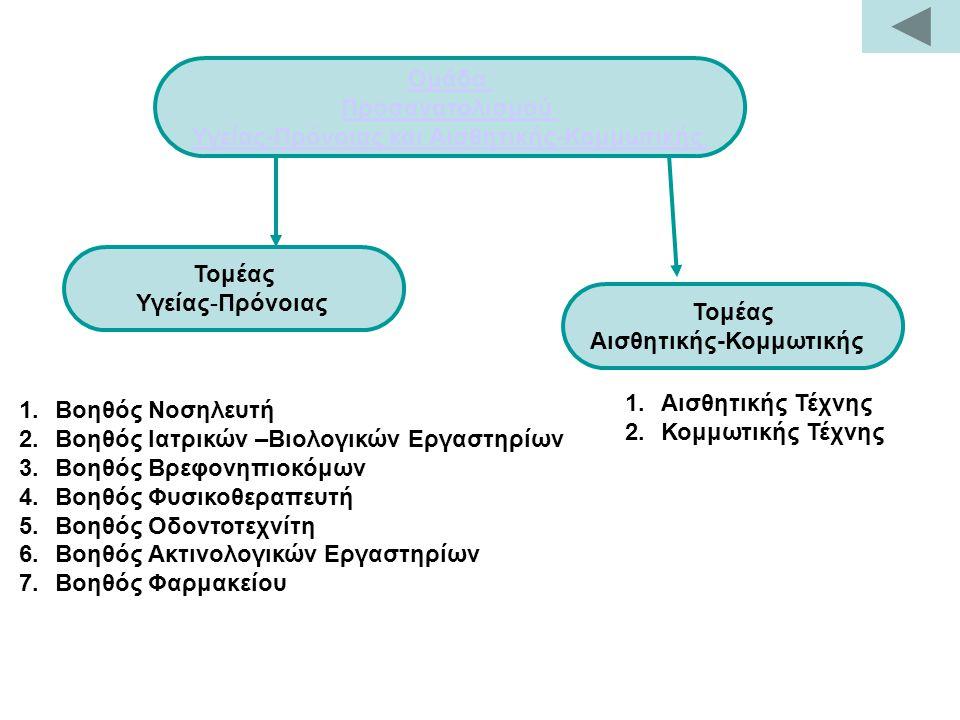 Ομάδα Προσανατολισμού Υγείας-Πρόνοιας και Αισθητικής-Κομμωτικής Τομέας Υγείας-Πρόνοιας Τομέας Αισθητικής-Κομμωτικής 1.Βοηθός Νοσηλευτή 2.Βοηθός Ιατρικών –Βιολογικών Εργαστηρίων 3.Βοηθός Βρεφονηπιοκόμων 4.Βοηθός Φυσικοθεραπευτή 5.Βοηθός Οδοντοτεχνίτη 6.Βοηθός Ακτινολογικών Εργαστηρίων 7.Βοηθός Φαρμακείου 1.Αισθητικής Τέχνης 2.Κομμωτικής Τέχνης