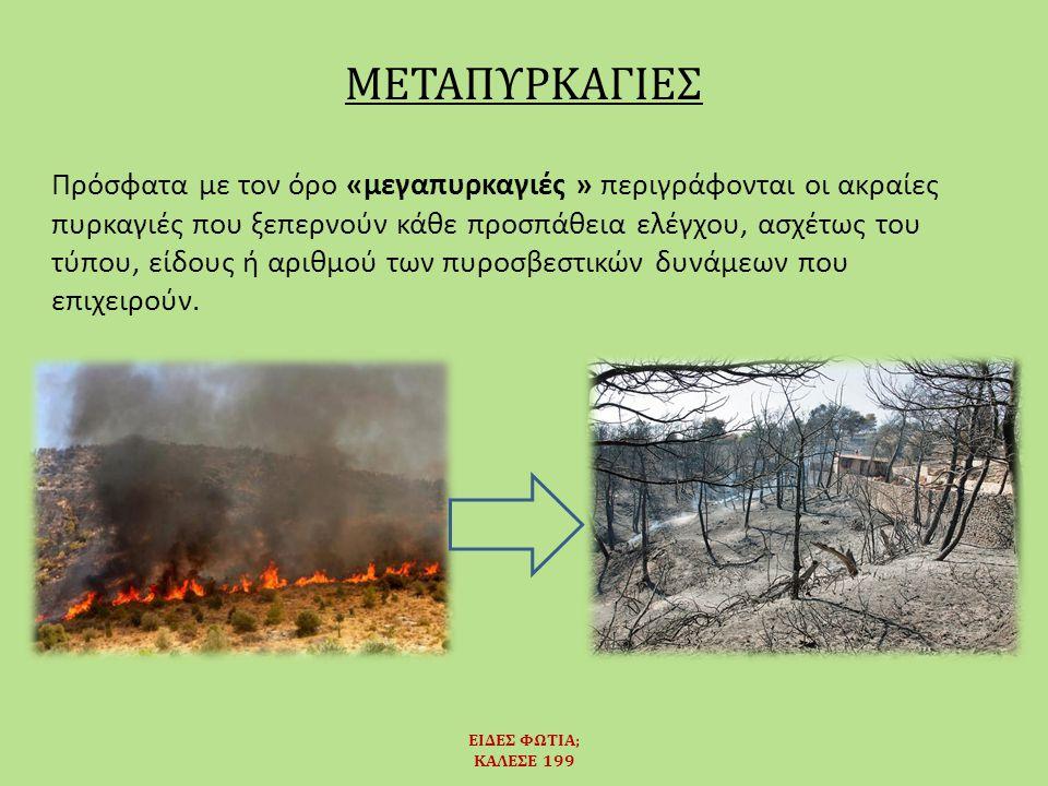 Πρόσφατα με τον όρο «μεγαπυρκαγιές » περιγράφονται οι ακραίες πυρκαγιές που ξεπερνούν κάθε προσπάθεια ελέγχου, ασχέτως του τύπου, είδους ή αριθμού των πυροσβεστικών δυνάμεων που επιχειρούν.