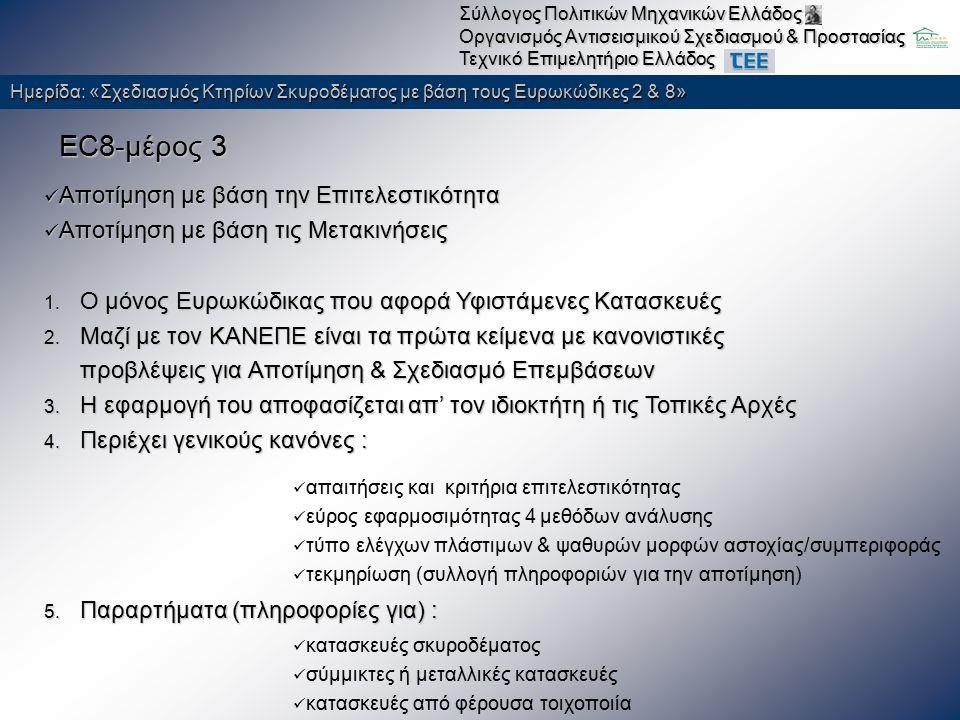 Ημερίδα: «Σχεδιασμός Κτηρίων Σκυροδέματος με βάση τους Ευρωκώδικες 2 & 8» Σύλλογος Πολιτικών Μηχανικών Ελλάδος Οργανισμός Αντισεισμικού Σχεδιασμού & Προστασίας Τεχνικό Επιμελητήριο Ελλάδος Ειδικά Θέματα Ενίσχυση δοκού έναντι ορθής έντασης 70% μεγαλύτερη απαίτηση A s ΚΑΝΕΠΕ 8.2.1.3.(α).(i) Η τεχνική δεν εφαρμόζεται σε περιοχές οι οποίες ενδέχεται να βρεθούν υπό θλιπτική καταπόνηση κατασκευαστικές δυσκολίες