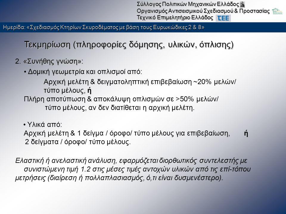 Ημερίδα: «Σχεδιασμός Κτηρίων Σκυροδέματος με βάση τους Ευρωκώδικες 2 & 8» Σύλλογος Πολιτικών Μηχανικών Ελλάδος Οργανισμός Αντισεισμικού Σχεδιασμού & Προστασίας Τεχνικό Επιμελητήριο Ελλάδος Μέθοδος Ανάλυσης ανελαστική στατική ανάλυση πρότυπα φόρτισης:  κατανομή καθ' ύψος συμβατή με την κατανομή των τεμνουσών ορόφων που υπολογίζονται από την ελαστική δυναμική ανάλυση του κτηρίου  «ομοιόμορφη» κατανομή αποτελούμενη από οριζόντια φορτία ανάλογα προς τη μάζα κάθε στάθμης λ = max (λ V, λ θ.ΠΖ ) παρουσίαση αποτελεσμάτων ζώνη σεισμικής ΕπικινδυνότηταςΙΙ, α=0.24 Κατηγορία σπουδαιότηταςΣ3, γ Ι =1.15 Κατηγορία εδάφους Β, Τ 1 =0.15,Τ 2 =0.60 συντελεστής θεμελίωσηςθ=1 τιμή ποσοστού απόσβεσης5 %
