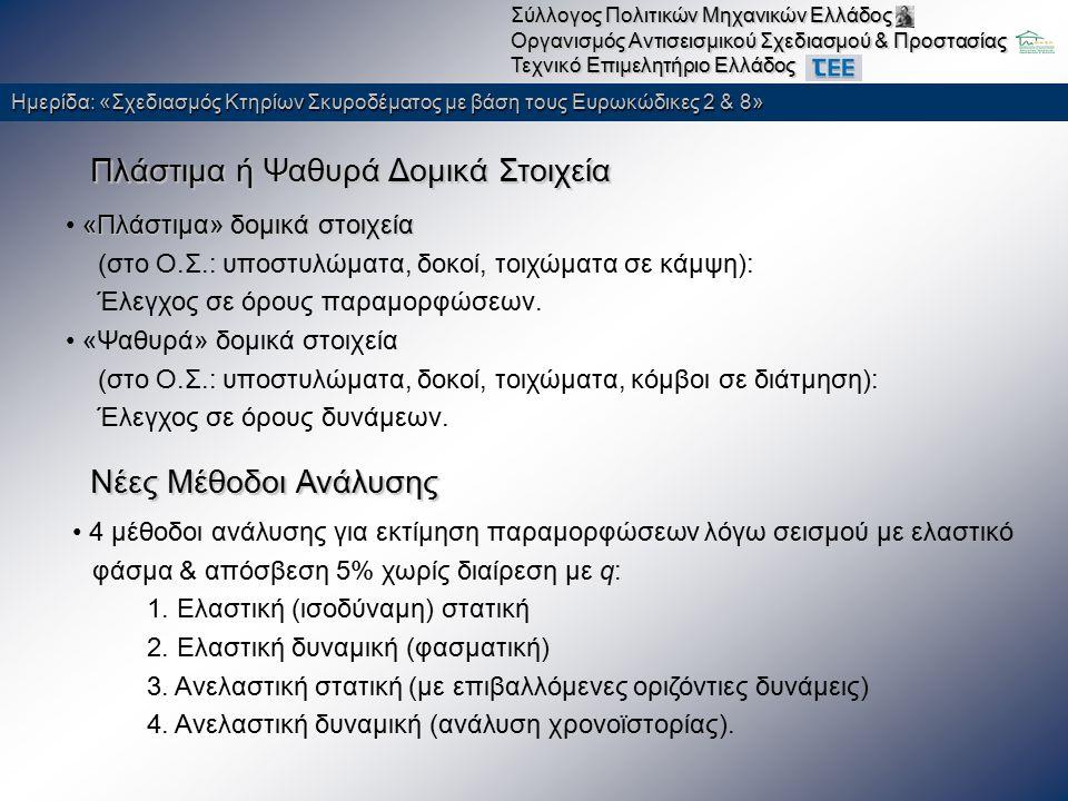 Ημερίδα: «Σχεδιασμός Κτηρίων Σκυροδέματος με βάση τους Ευρωκώδικες 2 & 8» Σύλλογος Πολιτικών Μηχανικών Ελλάδος Οργανισμός Αντισεισμικού Σχεδιασμού & Προστασίας Τεχνικό Επιμελητήριο Ελλάδος Παλαιές Μέθοδοι Ανάλυσης Επιτρέπεται και ελαστική ανάλυση με τιμή q που αντιστοιχεί στην ανταπόκριση του κτηρίου στο Μέρος 1 του ΕΚ 8 (q=1.5 για συνήθη παλαιά κτίρια), με έλεγχο αντοχής μελών μόνο στην οριακή κατάσταση «σοβαρές βλάβες» & σχετικών μετακινήσεων ορόφων για «περιορισμό βλαβών» «κύρια» («πρωτεύοντα») : κρίσιμα για την αντίσταση έναντι σεισμού συνεισφορά στις κατακόρυφες δράσεις, συνεισφορά έναντι σεισμικών δράσεων ασήμαντη ή αναξιόπιστη δυσκαμψία και η αντοχή τους αγνοείται στην (ελαστική) ανάλυση για σεισμικές δράσεις απαιτείται να αντιμετωπίσουν τις παραμορφώσεις που προκαλεί ο σεισμός σχεδιασμού χωρίς αστοχία «δευτερεύοντα» : Διάκριση δομικών στοιχείων