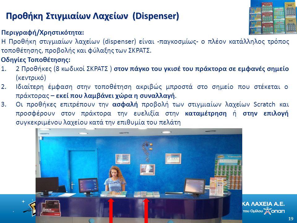 Προθήκη Στιγμιαίων Λαχείων (Dispenser) 19 Περιγραφή/Χρηστικότητα: Η Προθήκη στιγμιαίων λαχείων (dispenser) είναι -παγκοσμίως- ο πλέον κατάλληλος τρόπος τοποθέτησης, προβολής και φύλαξης των ΣΚΡΑΤΣ.