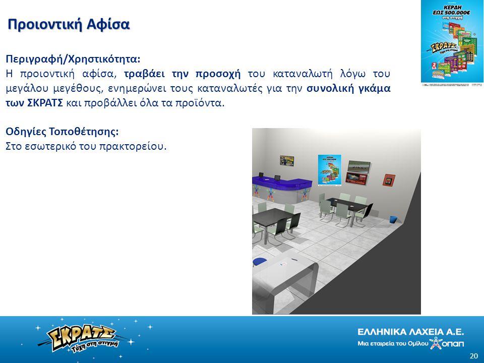 Προιοντική Αφίσα 20 Περιγραφή/Χρηστικότητα: Η προιοντική αφίσα, τραβάει την προσοχή του καταναλωτή λόγω του μεγάλου μεγέθους, ενημερώνει τους καταναλωτές για την συνολική γκάμα των ΣΚΡΑΤΣ και προβάλλει όλα τα προϊόντα.