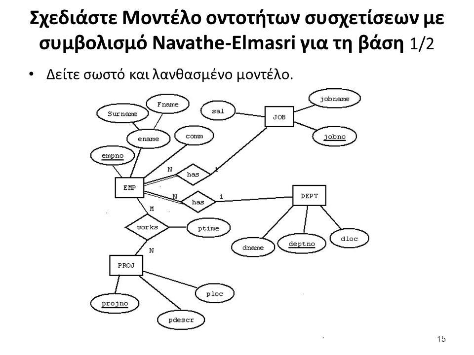 Σχεδιάστε Μοντέλο οντοτήτων συσχετίσεων με συμβολισμό Navathe-Elmasri για τη βάση 1/2 Δείτε σωστό και λανθασμένο μοντέλο.