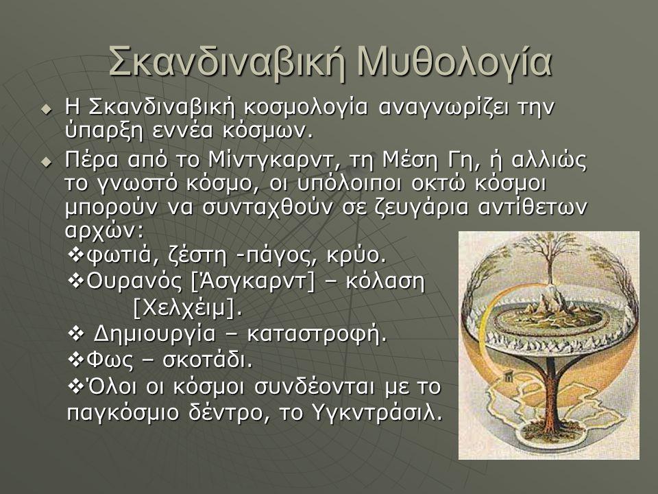 Σκανδιναβική Μυθολογία  Η Σκανδιναβική κοσμολογία αναγνωρίζει την ύπαρξη εννέα κόσμων.  Πέρα από το Μίντγκαρντ, τη Μέση Γη, ή αλλιώς το γνωστό κόσμο