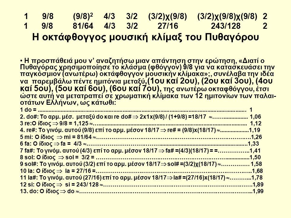 1 9/8 (9/8) 2 4/3 3/2 (3/2)χ(9/8) (3/2)χ(9/8)χ(9/8) 2 1 9/8 81/64 4/3 3/2 27/16 243/128 2 Η οκτάφθογγος μουσική κλίμαξ του Πυθαγόρου Η προσπάθειά μου