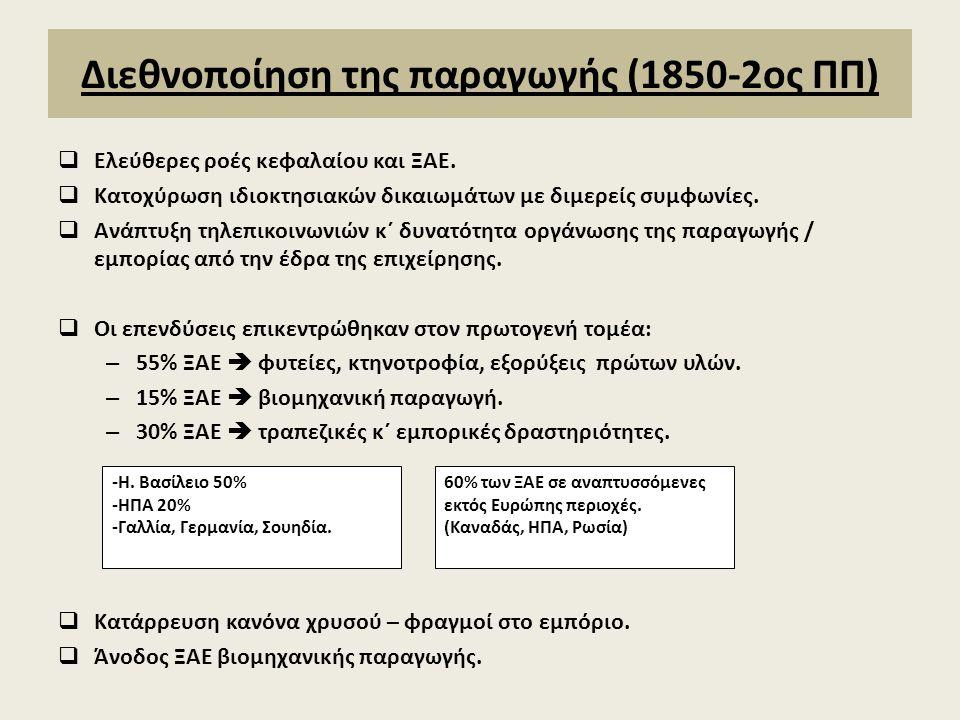 Διεθνοποίηση της παραγωγής (1850-2ος ΠΠ)  Ελεύθερες ροές κεφαλαίου και ΞΑΕ.