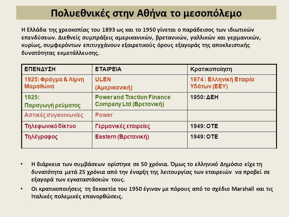 Πολυεθνικές στην Αθήνα το μεσοπόλεμο Η διάρκεια των συμβάσεων ορίστηκε σε 50 χρόνια.