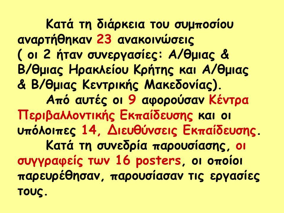 Κατά τη διάρκεια του συμποσίου αναρτήθηκαν 23 ανακοινώσεις ( οι 2 ήταν συνεργασίες: Α/θμιας & Β/θμιας Ηρακλείου Κρήτης και Α/θμιας & Β/θμιας Κεντρικής Μακεδονίας).