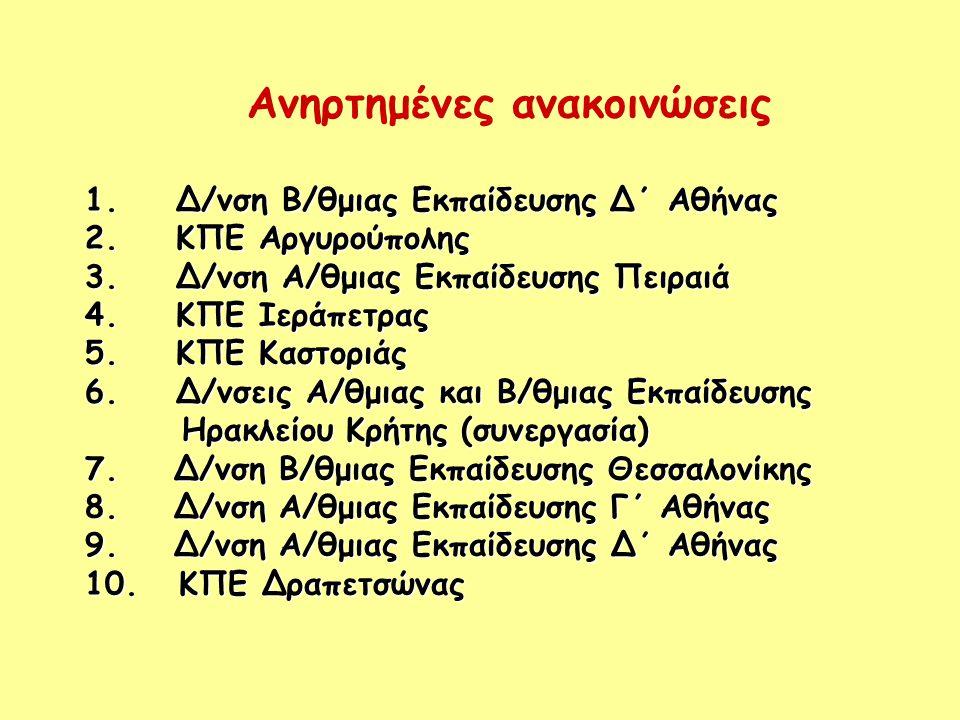 Ανηρτημένες ανακοινώσεις 1. Δ/νση Β/θμιας Εκπαίδευσης Δ΄ Αθήνας 2.