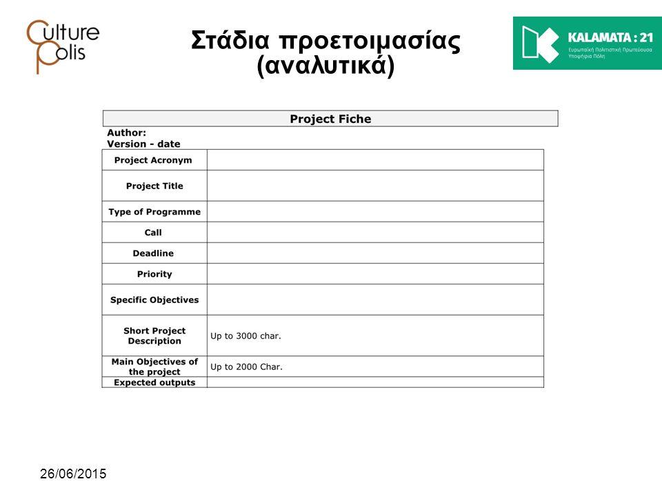26/06/2015 Στάδια προετοιμασίας (αναλυτικά)