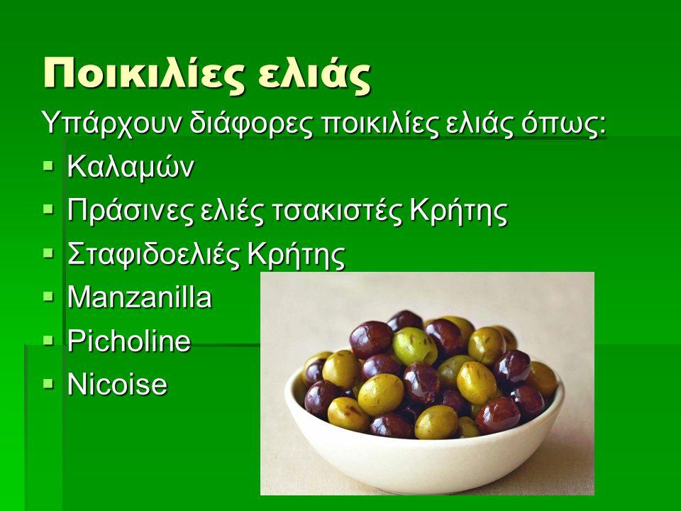 Ποικιλίες ελιάς Υπάρχουν διάφορες ποικιλίες ελιάς όπως:  Καλαμών  Πράσινες ελιές τσακιστές Κρήτης  Σταφιδοελιές Κρήτης  Manzanilla  Picholine  N