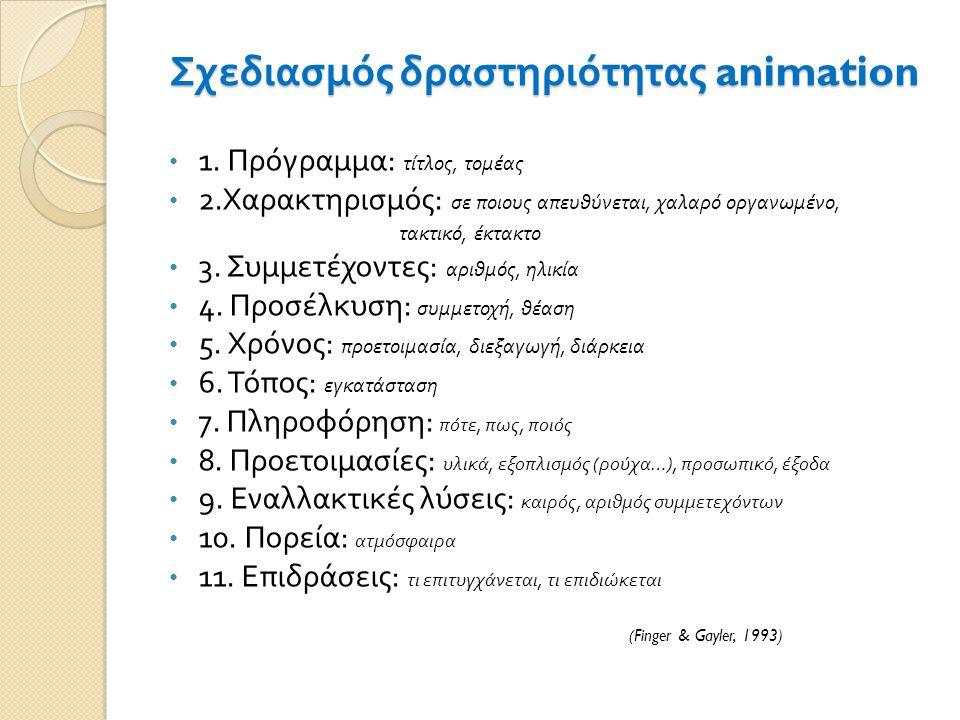 Σχεδιασμός δραστηριότητας animation 1. Πρόγραμμα : τίτλος, τομέας 2. Χαρακτηρισμός : σε ποιους απευθύνεται, χαλαρό οργανωμένο, τακτικό, έκτακτο 3. Συμ