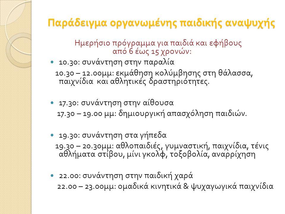 Παράδειγμα οργανωμένης παιδικής αναψυχής Ημερήσιο πρόγραμμα για παιδιά και εφήβους από 6 έως 15 χρονών : 10.30: συνάντηση στην παραλία 10.30 – 12.00 μ