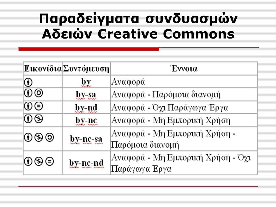 Παραδείγματα συνδυασμών Αδειών Creative Commons