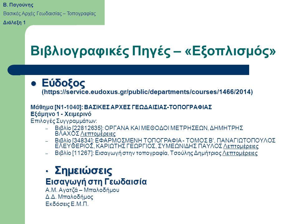 Βιβλιογραφικές Πηγές – «Εξοπλισμός» Εύδοξος https://service.eudoxus.gr/public/departments/courses/1466/2014 Εύδοξος (https://service.eudoxus.gr/public