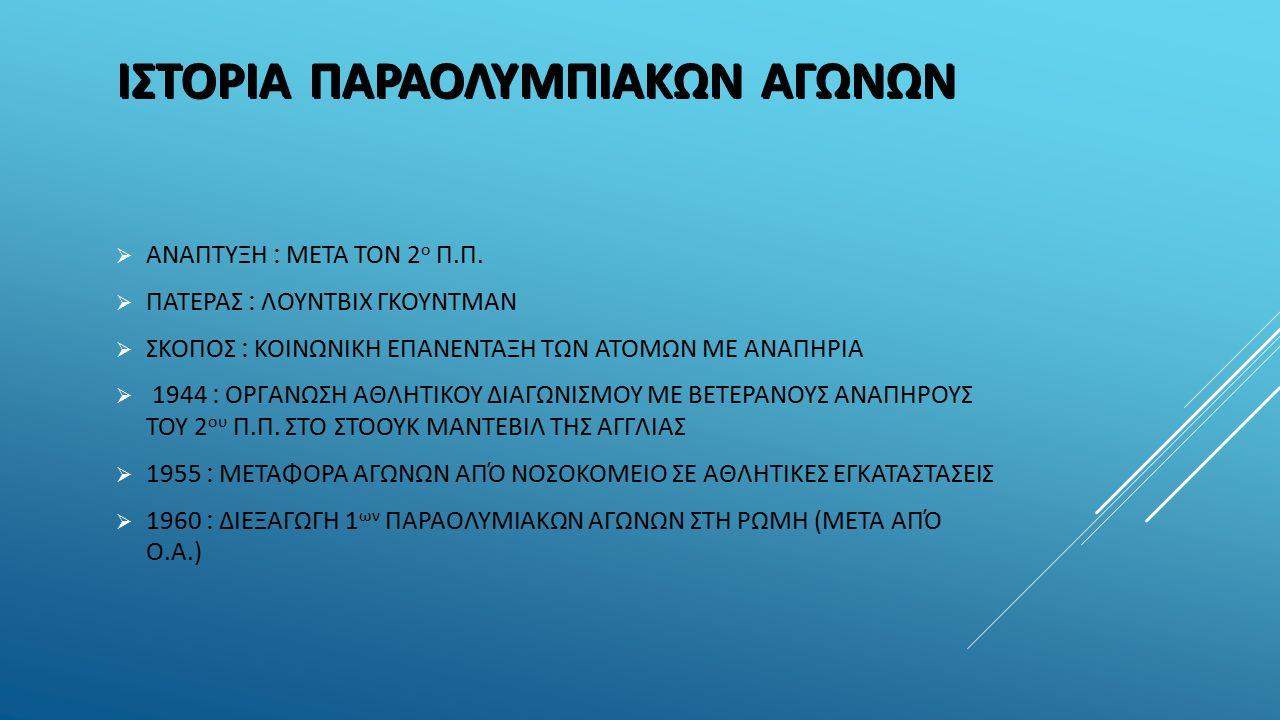 ΙΣΤΟΡΙΑΠΑΡΑΟΛΥΜΠΙΑΚΩΝ ΑΓΩΝΩΝ  ΑΝΑΠΤΥΞΗ : ΜΕΤΑ ΤΟΝ 2 ο Π.Π.  ΠΑΤΕΡΑΣ : ΛΟΥΝΤΒΙΧ ΓΚΟΥΝΤΜΑΝ  ΣΚΟΠΟΣ : ΚΟΙΝΩΝΙΚΗ ΕΠΑΝΕΝΤΑΞΗ ΤΩΝ ΑΤΟΜΩΝ ΜΕ ΑΝΑΠΗΡΙΑ  19