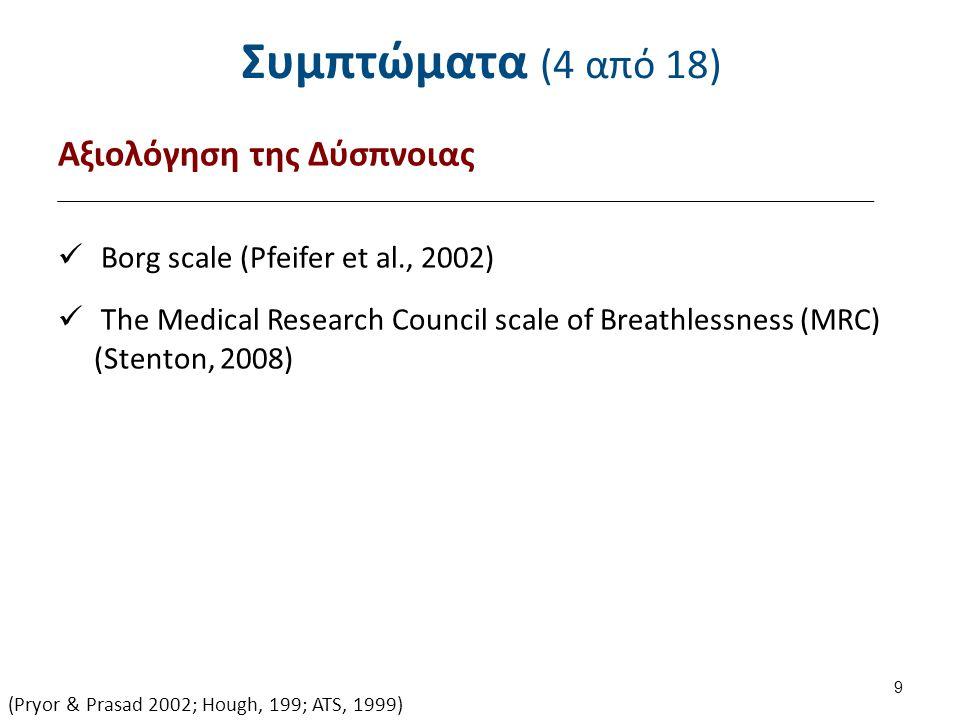 Συμπτώματα (4 από 18) Αξιολόγηση της Δύσπνοιας Borg scale (Pfeifer et al., 2002) The Medical Research Council scale of Breathlessness (MRC) (Stenton,