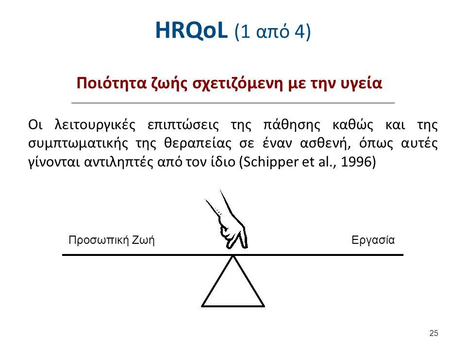 HRQoL (1 από 4) Οι λειτουργικές επιπτώσεις της πάθησης καθώς και της συμπτωματικής της θεραπείας σε έναν ασθενή, όπως αυτές γίνονται αντιληπτές από το