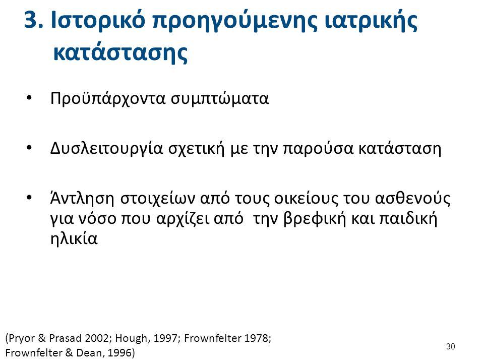 3. Ιστορικό προηγούμενης ιατρικής κατάστασης Προϋπάρχοντα συμπτώματα Δυσλειτουργία σχετική με την παρούσα κατάσταση Άντληση στοιχείων από τους οικείου