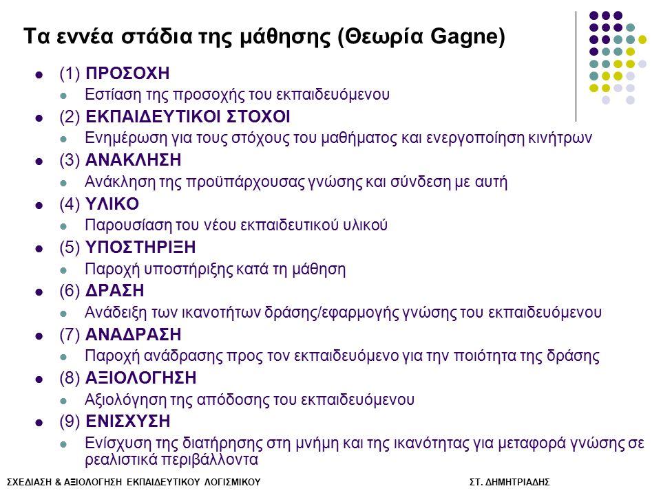 ΣΧΕΔΙΑΣΗ & ΑΞΙΟΛΟΓΗΣΗ ΕΚΠΑΙΔΕΥΤΙΚΟΥ ΛΟΓΙΣΜΙΚΟΥ ΣΤ. ΔΗΜΗΤΡΙΑΔΗΣ Τα εννέα στάδια της μάθησης (Θεωρία Gagne) (1) ΠΡΟΣΟΧΗ Εστίαση της προσοχής του εκπαιδε