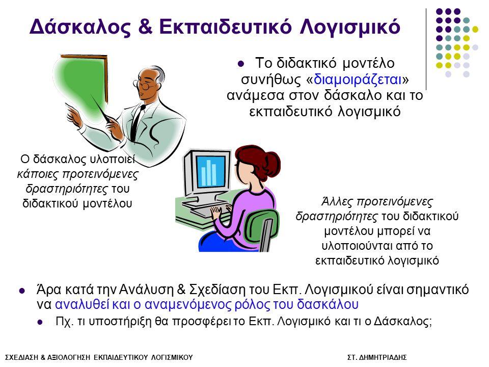 ΣΧΕΔΙΑΣΗ & ΑΞΙΟΛΟΓΗΣΗ ΕΚΠΑΙΔΕΥΤΙΚΟΥ ΛΟΓΙΣΜΙΚΟΥ ΣΤ. ΔΗΜΗΤΡΙΑΔΗΣ Δάσκαλος & Εκπαιδευτικό Λογισμικό Το διδακτικό μοντέλο συνήθως «διαμοιράζεται» ανάμεσα
