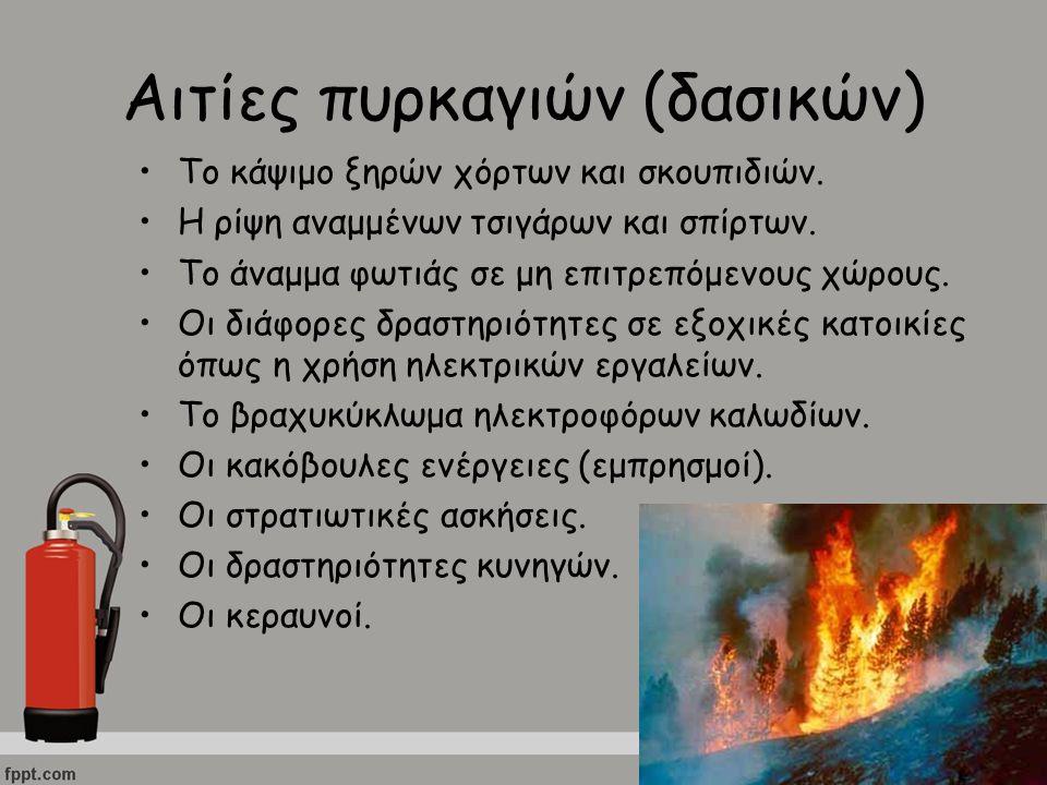 Αιτίες πυρκαγιών (δασικών) Το κάψιμο ξηρών χόρτων και σκουπιδιών. Η ρίψη αναμμένων τσιγάρων και σπίρτων. Το άναμμα φωτιάς σε μη επιτρεπόμενους χώρους.