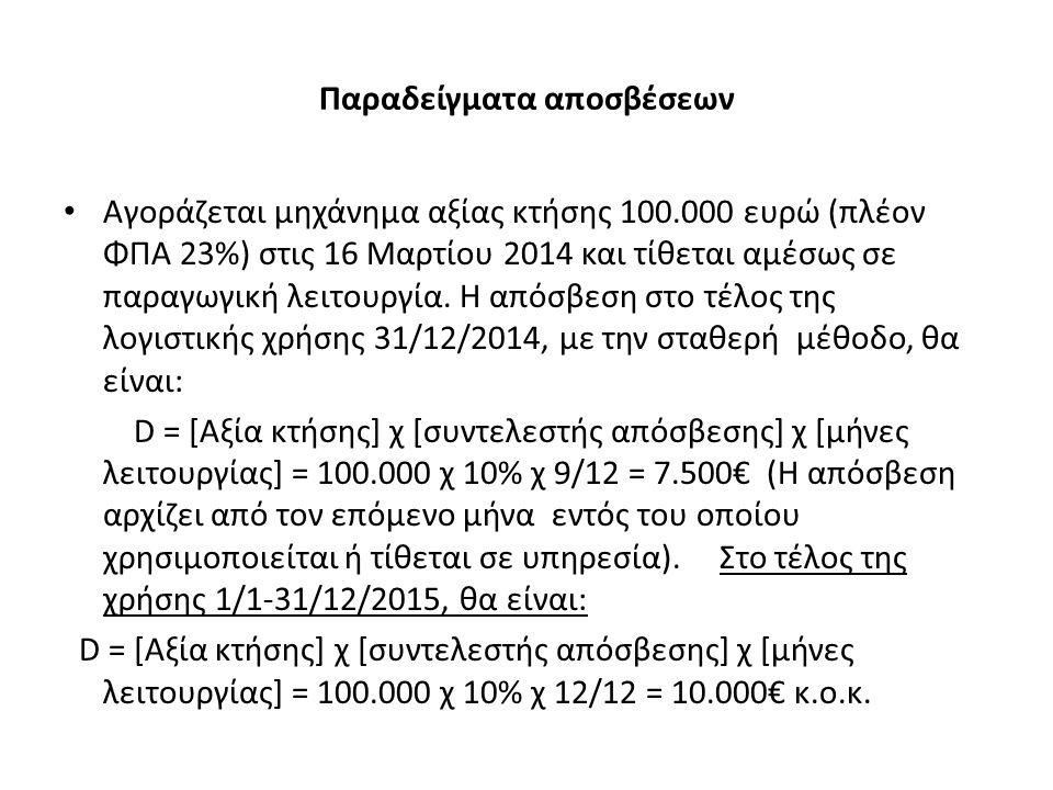 Παραδείγματα αποσβέσεων Αγοράζεται μηχάνημα αξίας κτήσης 100.000 ευρώ (πλέον ΦΠΑ 23%) στις 16 Μαρτίου 2014 και τίθεται αμέσως σε παραγωγική λειτουργία