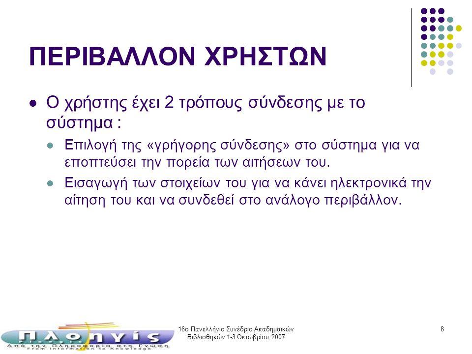 16ο Πανελλήνιο Συνέδριο Ακαδημαϊκών Βιβλιοθηκών 1-3 Οκτωβρίου 2007 8 ΠΕΡΙΒΑΛΛΟΝ ΧΡΗΣΤΩΝ Ο χρήστης έχει 2 τρόπους σύνδεσης με το σύστημα : Επιλογή της