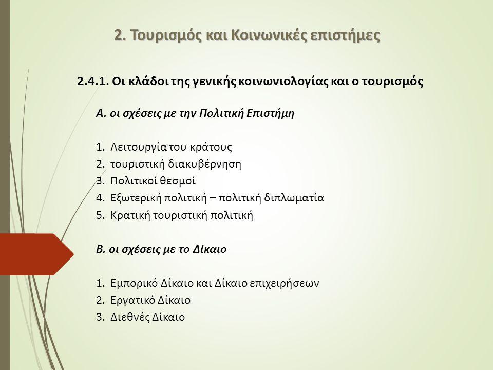 2.4.1.Οι κλάδοι της γενικής κοινωνιολογίας και ο τουρισμός Α.