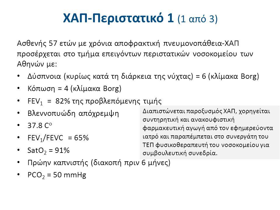 ΧΑΠ-Περιστατικό 1 (1 από 3) Ασθενής 57 ετών με χρόνια αποφρακτική πνευμονοπάθεια-ΧΑΠ προσέρχεται στο τμήμα επειγόντων περιστατικών νοσοκομείου των Αθηνών με: Δύσπνοια (κυρίως κατά τη διάρκεια της νύχτας) = 6 (κλίμακα Borg) Κόπωση = 4 (κλίμακα Borg) FEV 1 = 82% της προβλεπόμενης τιμής Βλεννοπυώδη απόχρεμψη 37.8 C ο FEV 1 /FEVC = 65% SatO 2 = 91% Πρώην καπνιστής (διακοπή πριν 6 μήνες) PCO 2 = 50 mmHg Διαπιστώνεται παροξυσμός ΧΑΠ, χορηγείται συντηρητική και ανακουφιστική φαρμακευτική αγωγή από τον εφημερεύοντα ιατρό και παραπέμπεται στο συνεργάτη του ΤΕΠ φυσικοθεραπευτή του νοσοκομείου για συμβουλευτική συνεδρία.