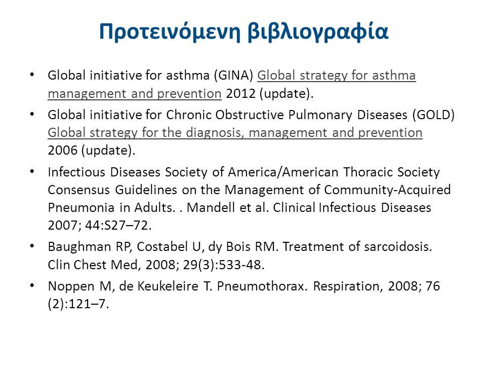 Προτεινόμενη βιβλιογραφία Global initiative for asthma (GINA) Global strategy for asthma management and prevention 2012 (update).Global strategy for asthma management and prevention Global initiative for Chronic Obstructive Pulmonary Diseases (GOLD) Global strategy for the diagnosis, management and prevention 2006 (update).