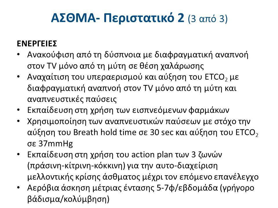 ΑΣΘΜΑ- Περιστατικό 2 (3 από 3) ΕΝΕΡΓΕΙΕΣ Ανακούφιση από τη δύσπνοια με διαφραγματική αναπνοή στον TV μόνο από τη μύτη σε θέση χαλάρωσης Αναχαίτιση του υπεραερισμού και αύξηση του ETCO 2 με διαφραγματική αναπνοή στον TV μόνο από τη μύτη και αναπνευστικές παύσεις Εκπαίδευση στη χρήση των εισπνεόμενων φαρμάκων Χρησιμοποίηση των αναπνευστικών παύσεων με στόχο την αύξηση του Breath hold time σε 30 sec και αύξηση του ETCO 2 σε 37mmHg Εκπαίδευση στη χρήση του action plan των 3 ζωνών (πράσινη-κίτρινη-κόκκινη) για την αυτο-διαχείριση μελλοντικής κρίσης άσθματος μέχρι τον επόμενο επανέλεγχο Αερόβια άσκηση μέτριας έντασης 5-7φ/εβδομάδα (γρήγορο βάδισμα/κολύμβηση)