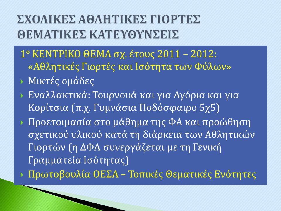 1 ο ΚΕΝΤΡΙΚΟ ΘΕΜΑ σχ. έτους 2011 – 2012: « Αθλητικές Γιορτές και Ισότητα των Φύλων »  Μικτές ομάδες  Εναλλακτικά : Τουρνουά και για Αγόρια και για Κ
