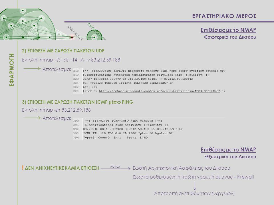 ΕΡΓΑΣΤΗΡΙΑΚΟ ΜΕΡΟΣ ΕΦΑΡΜΟΓΗ Επιθέσεις με το NMAP Εσωτερικά του Δικτύου 2) ΕΠΙΘΕΣΗ ΜΕ ΣΑΡΩΣΗ ΠΑΚΕΤΩΝ UDP Εντολή: nmap –sS –sU –T4 –A –v 83.212.59.188 Α